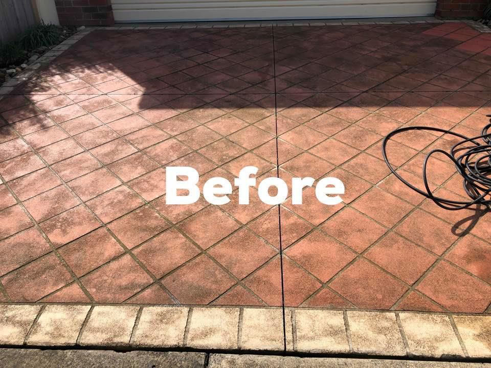 Dirty Driveway Prior To A High Pressure Clean - Concrete Cleaning & Sealing Melbourne